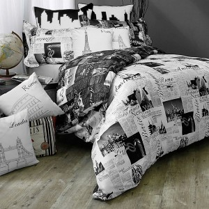 Pure Cotton Sateen Imported Newspaper BedSets [All Sizes] CSB-136