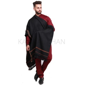 Black Pure Acro-Woolen Dhussa Shawl For Man SHL-030-7