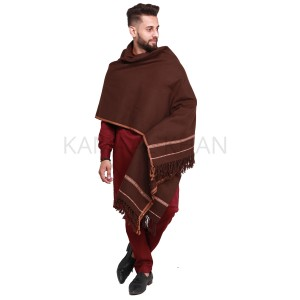 Dark Brown Pure Acro-Woolen Dhussa Shawl For Man SHL-030-14