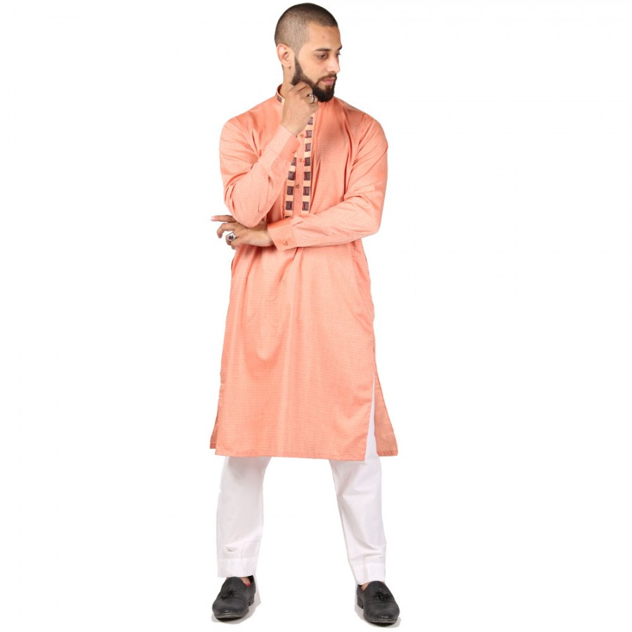 Pink Color Front & Neck  Embroidered Kurta KKK-03-03
