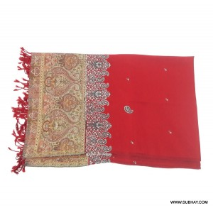 Acro Woolen Red Color Kashmiri (Kani Palla) Embriored Shawl For Her SHL-151-4