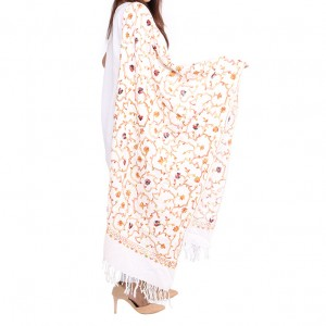 Off White Acrowool Kashmiri / Water Pashmina Embroidered Aari Shawl SHL-155-3