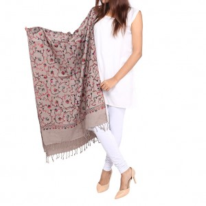 Grey Acrowool Kashmiri / Water Pashmina Embroidered Aari Shawl SHL-155-2