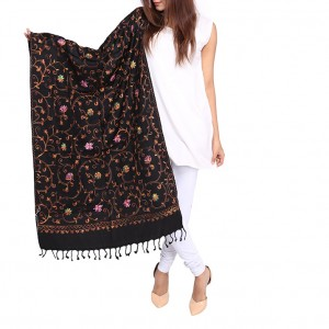 Black Acrowool Kashmiri / Water Pashmina Embroidered Aari Shawl SHL-155-1