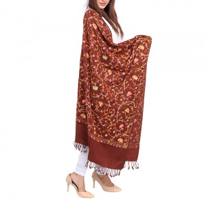 Dark Brown Acrowool Kashmiri / Water Pashmina Embroidered Aari Shawl SHL-155-4