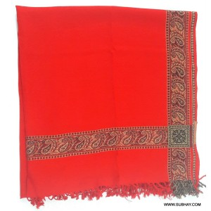Acro Woolen Red Color Kashmiri 4 Border Shawl For Her SHL-147-4