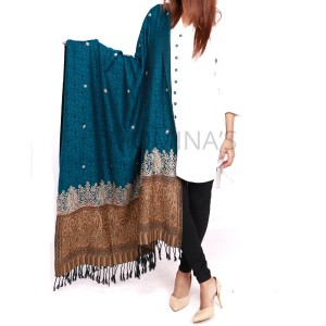 Acro Woolen Sea Green (Ferozi) Color Kashmiri (Kani Palla) Embriored Shawl For Her SHL-151-1