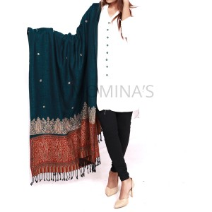 Acro Woolen Deep Blue Color Kashmiri (Kani Palla) Embroidered Shawl For Her SHL-151-2