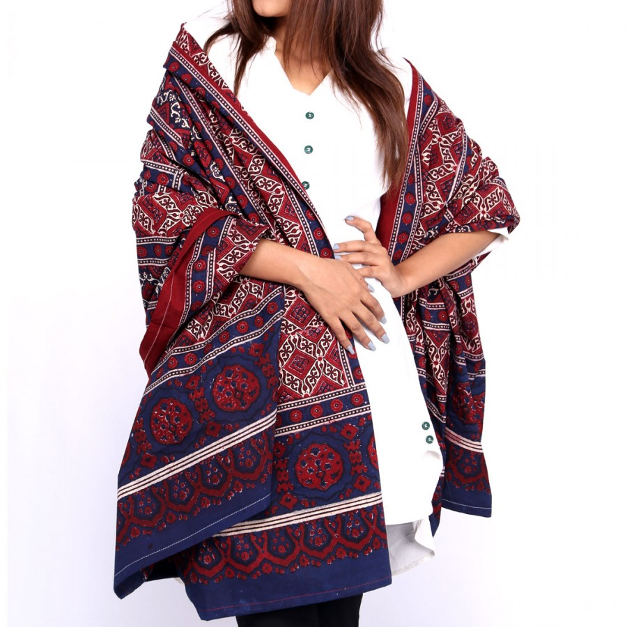 Pure Cotton Herbal Dyed Block Printed Sindhi Ajrak (Original) SA-32