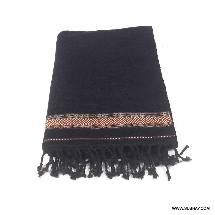 Pure Velvet Black Dhussa / Khamdar Shawl SHL-150-6 By Khan Culture