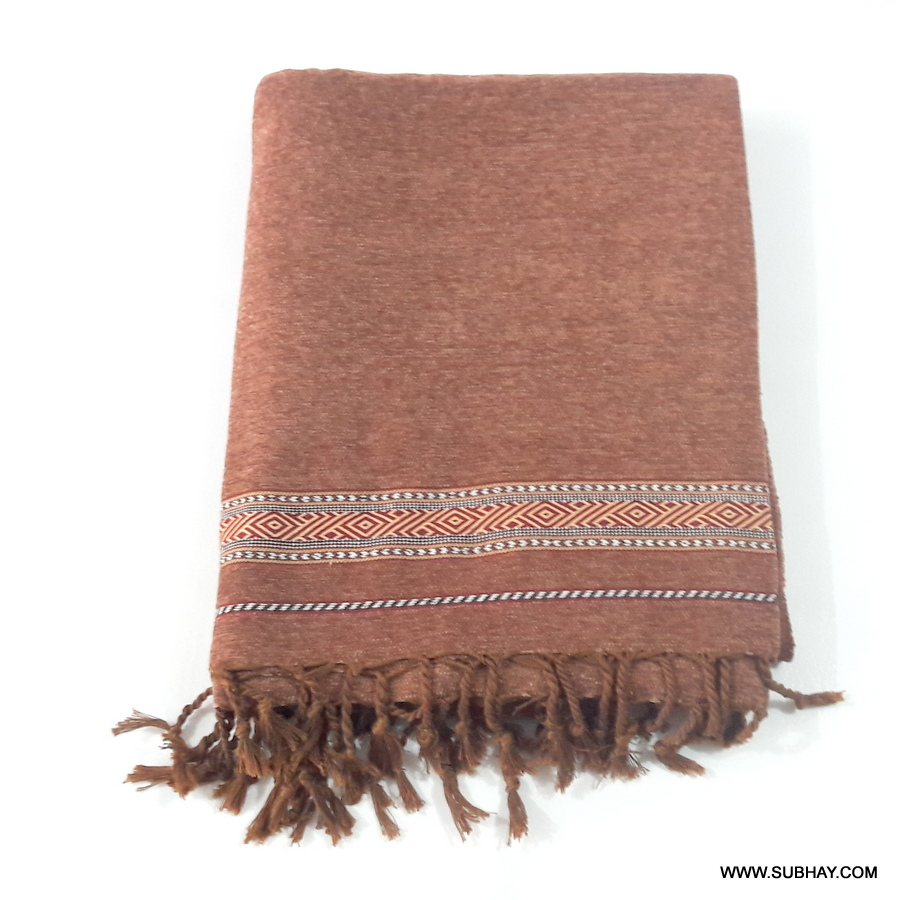 Pure Velvet Badami Brown Dhussa / Khamdar Shawl SHL-150 By Khan Culture