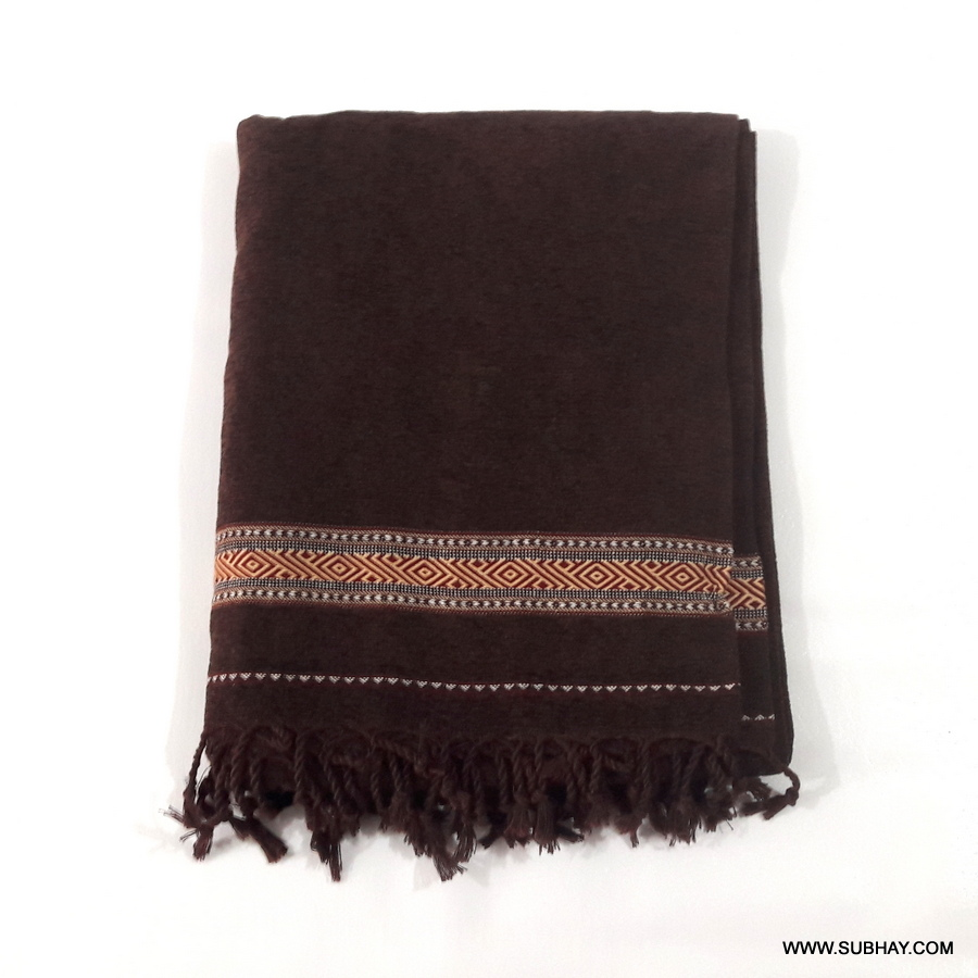 Pure Velvet Dark Brown Dhussa / Khamdar Shawl SHL-150-3 By Khan Culture