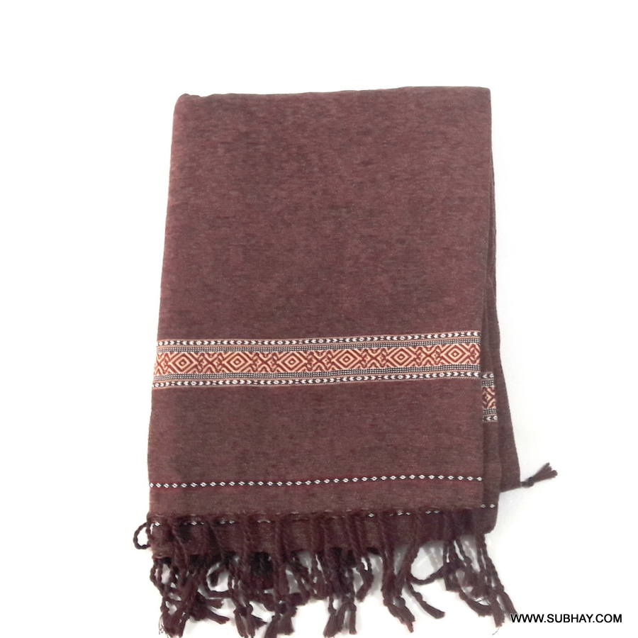 Pure Velvet Deep Brown Dhussa / Khamdar Shawl SHL-150-2 By Khan Culture