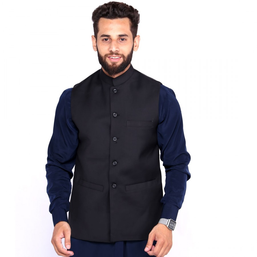 Kamaal Khan Black Suiting  Waistcoat For Men - KK-45