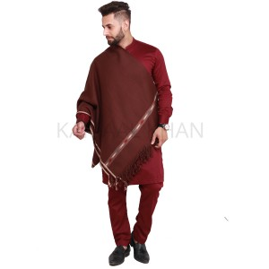 Dark Brown Pure Acro-Woolen Dhussa Shawl For Man SHL-030-12