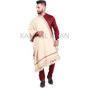 Beige Pure Acro-Woolen Dhussa Shawl For Man SHL-030-4