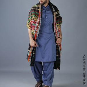 Black Multi Color Sindhi Tharri Shawl SHL-112-30