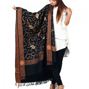 Black Full Embriored Kashmiri 4 Border Shawl For Her SHL-147-24