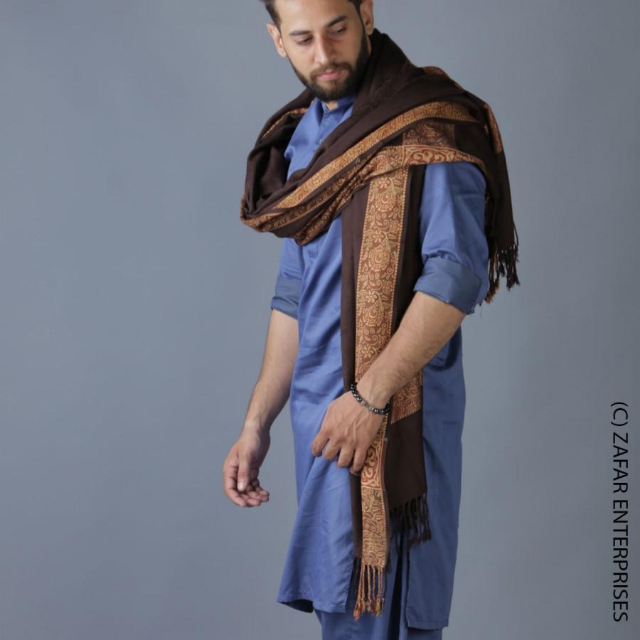 Brown 4 Border Karbala Style Chadder Shawl SHL-182-7