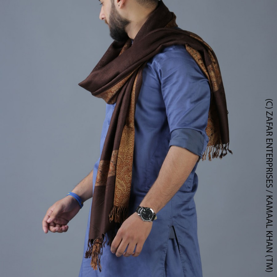 Brown 4 Border Karbala Style Mufler Shawl SHL-192-6