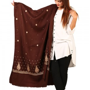 Brown Pan Palla Embroidered Shawl For Women SHL-170-13