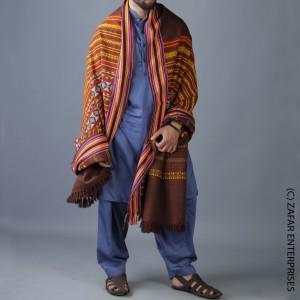 Brown Multi Color Sindhi Tharri Shawl SHL-112-29