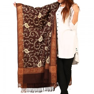Acrowoolen Brown Embroidered Color Kashmiri 4 Border Shawl SHL-147-24