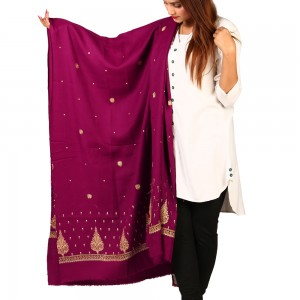 Carrot Pan Palla Embroidered Shawl For Women SHL-170-15