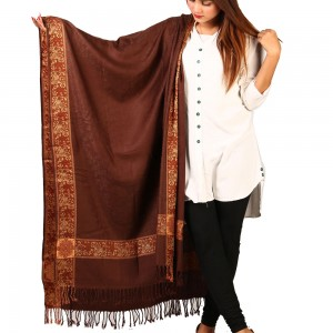 Brown Kashmiri 4 Border Shawl For Her SHL-147-18