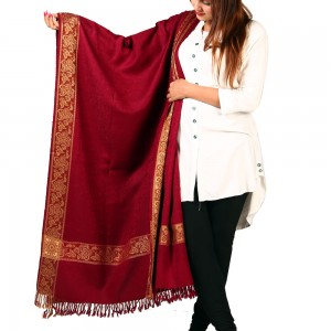 Maroon Kashmiri 4 Border Shawl For Her SHL-147-17