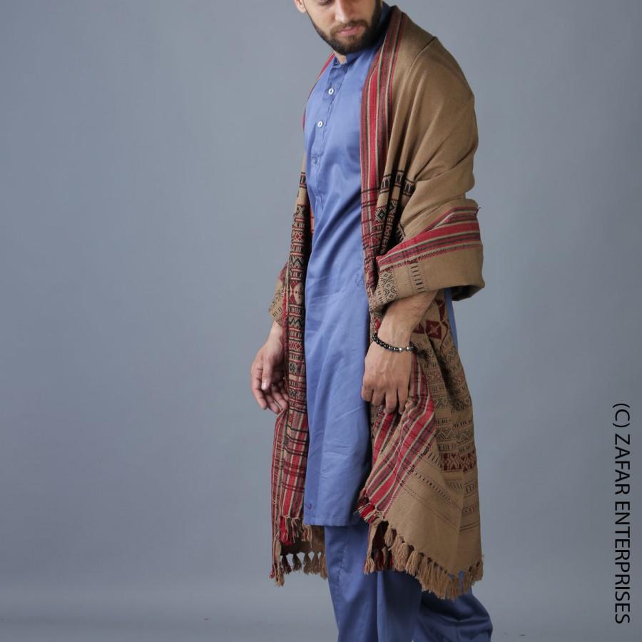 Khaki Multi Color Sindhi Tharri Shawl SHL-112-28