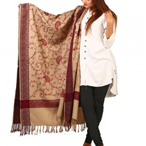 Khaki Full Embriored Kashmiri 4 Border Shawl For Her SHL-147-23