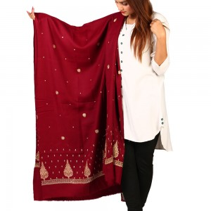 Maroon Pan Palla Embroidered Shawl For Women SHL-170-7