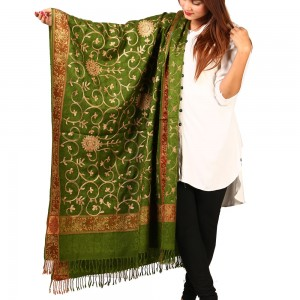 Mehendi Full Embriored Kashmiri 4 Border Shawl For Her SHL-147-21
