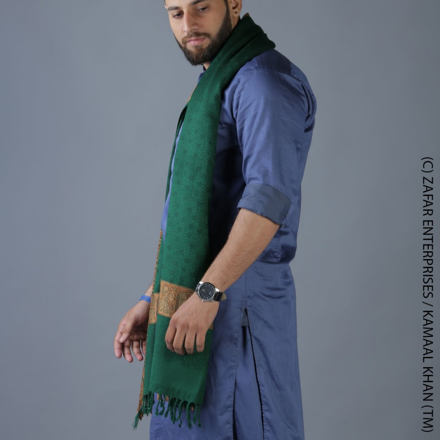 Mongia 4 Border Karbala Style Mufler Shawl SHL-192-7
