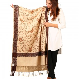 Acrowoolen Beige Embroidered Color Kashmiri 4 Border Shawl SHL-147-25