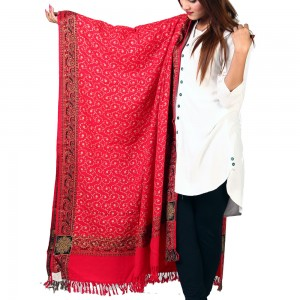 Acrowoolen Red Embroidered Color Kashmiri 4 Border Shawl SHL-147-26