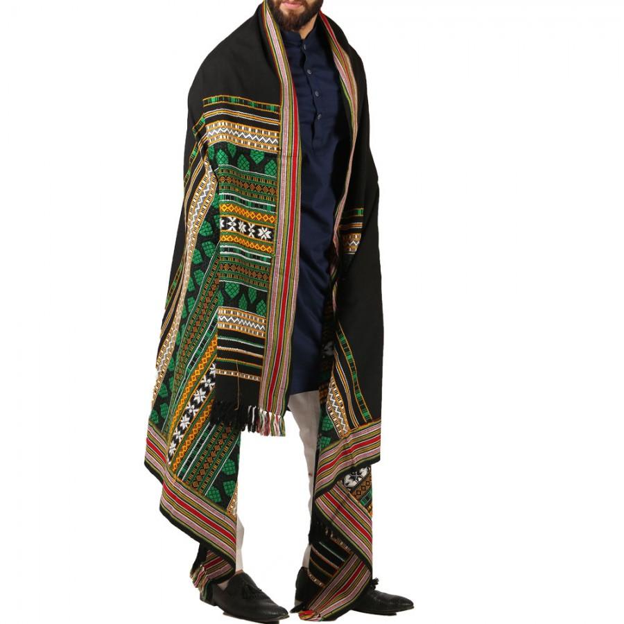 Green Sindhi Tharri / Khatri  / Wadera Shawl SHL-112-21