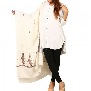 White Pan Palla Embroidered Shawl For Women SHL-170-8