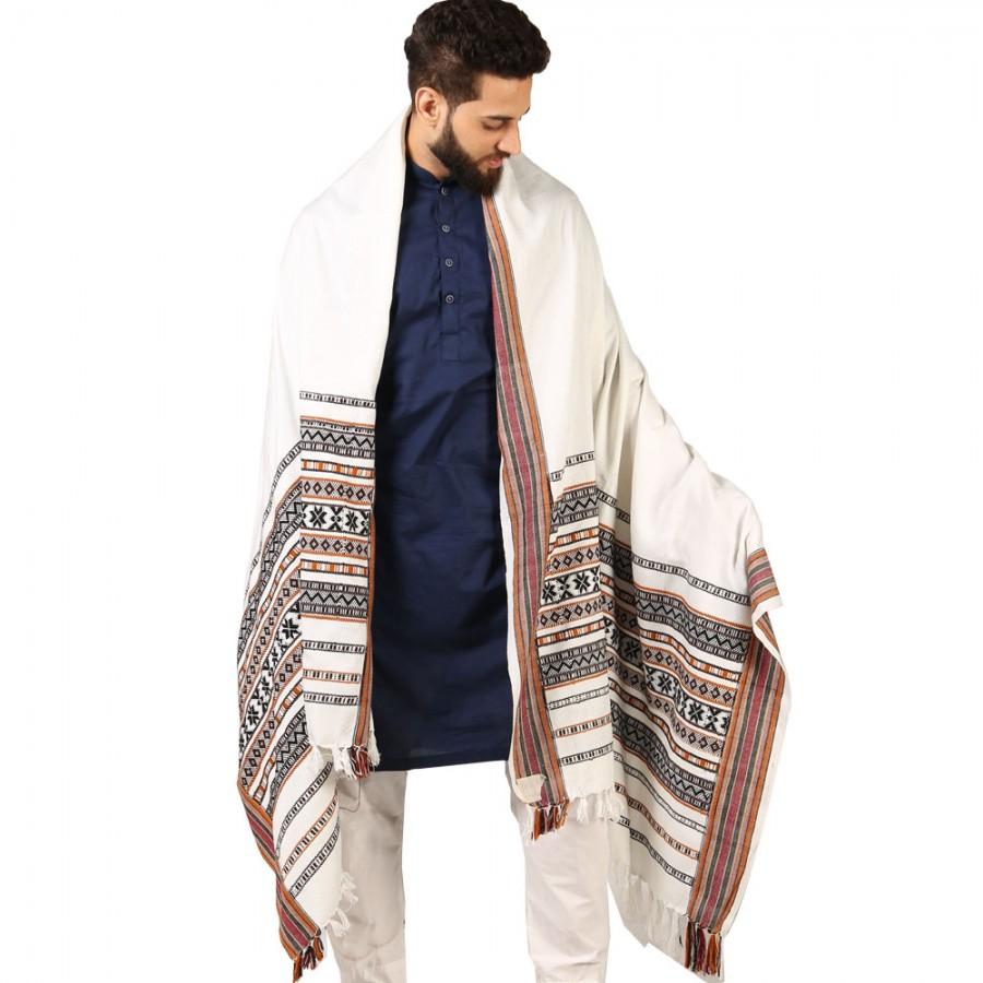 White Sindhi Tharri / Khatri  / Wadera Shawl SHL-112-22