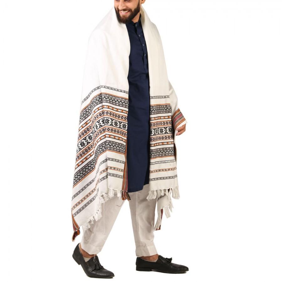 White Sindhi Tharri / Khatri  / Wadera Shawl SHL-112-23
