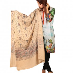 Badami Full Kashmiri Block Print & Handwork Jaal Shawl For Women SHL-211-2