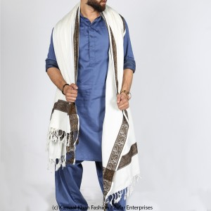 White 4 Border Karbala Style Chadder Shawl SHL-182-1