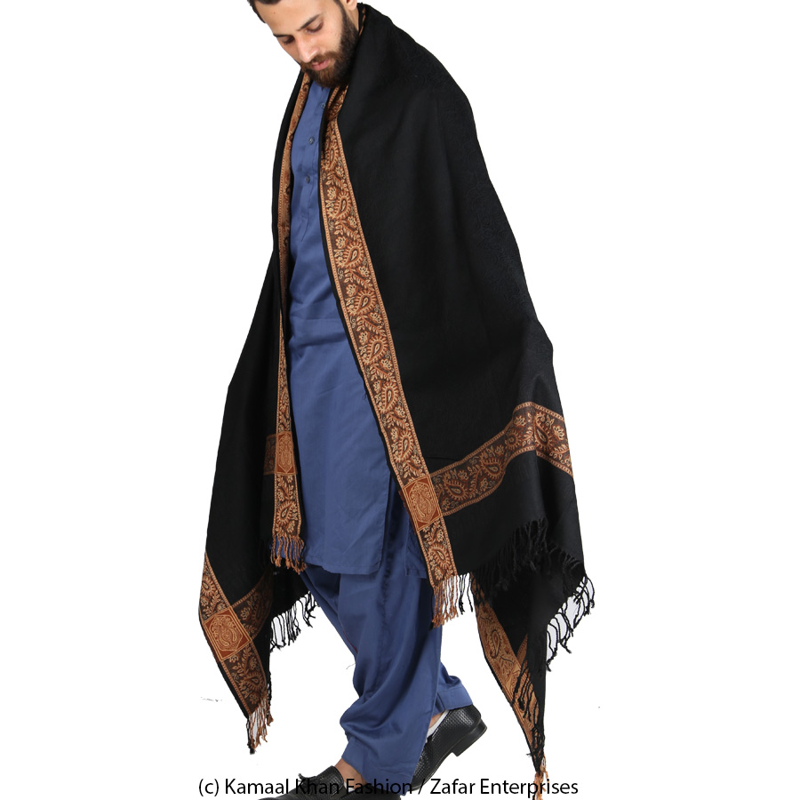 Black 4 Border Karbala Style Chadder Shawl SHL-182-3