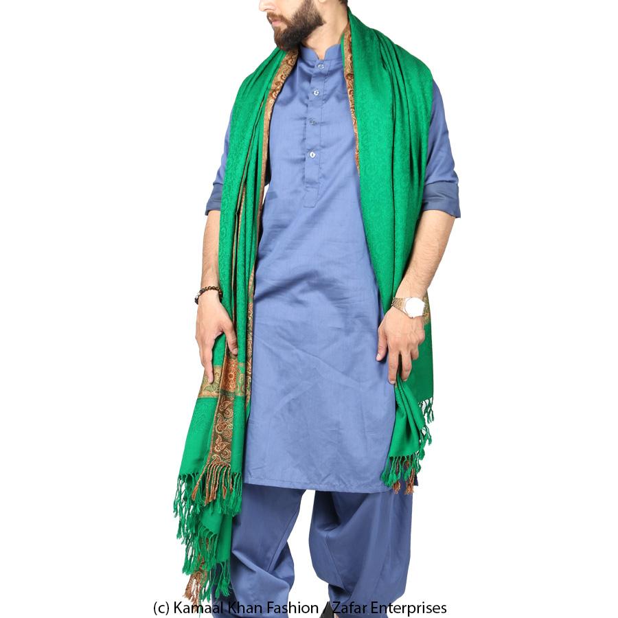 Green 4 Border Karbala Style Chadder Shawl SHL-182-2