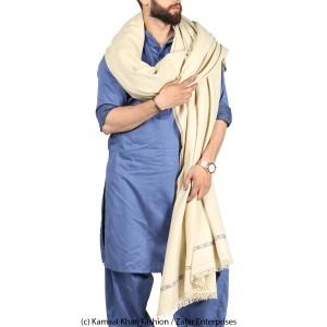 Creame Pure Woolen Kashmiri Fushion Dhussa SHL-142-2