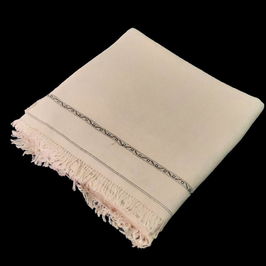 Beige Color Pure Woolen Light Weight Pashmina Dhussa Shawl For Him SHL-171-3