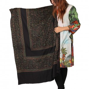 Black Full Kashmiri Block Print & Handwork 4 Border Jaal Shawl SHL-210-1