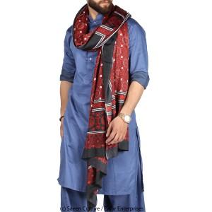 Poly Silk Sindhi Ajrak - Black SA-04-2