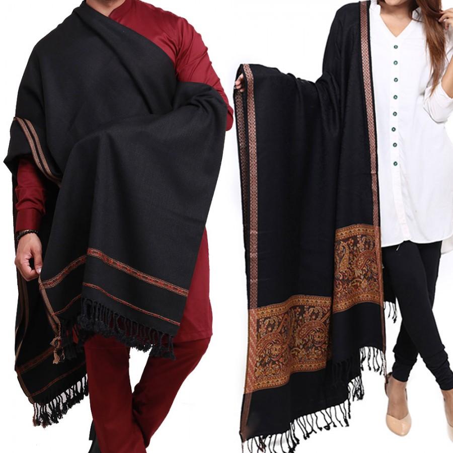 Couple Shawls Black Kani Palla & Pure Acro-Woolen Dhussa Shawls SHL-030-23